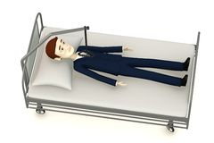 Cartoon businessman on hospital bed Stock Photo