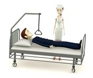Cartoon businessman on hospital bed Royalty Free Stock Image