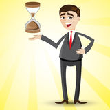 Cartoon businessman with hourglass. Illustration of cartoon businessman with hourglass Royalty Free Stock Images