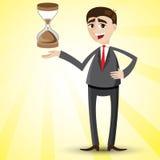 Cartoon businessman with hourglass. Illustration of cartoon businessman with hourglass stock illustration