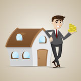 Cartoon businessman with house and money Royalty Free Stock Images