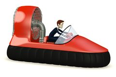 Cartoon businessman in hovercraft. 3d render of cartoon businessman in hovercraft Stock Images