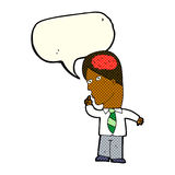 Cartoon businessman with huge brain with speech bubble Stock Image