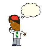 Cartoon businessman with huge brain with thought bubble Royalty Free Stock Photography