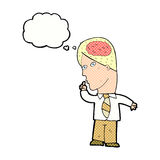 Cartoon businessman with huge brain with thought bubble Stock Images