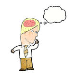 Cartoon businessman with huge brain with thought bubble Royalty Free Stock Photos