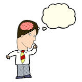 Cartoon businessman with huge brain with thought bubble Stock Image