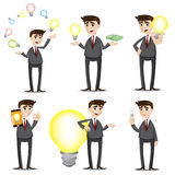 Cartoon businessman with idea bulb set. Illustration of cartoon businessman with idea bulb set Royalty Free Stock Photo