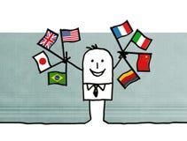 Cartoon businessman with international flags. Illustration Stock Image