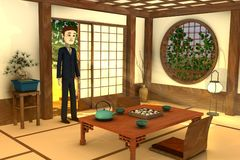 Cartoon businessman in japanese interior Royalty Free Stock Photography