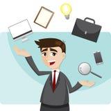 Cartoon Businessman Juggling Gadget Stock Image