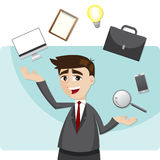 Cartoon businessman juggling gadget. Illustration of cartoon businessman juggling gadget Stock Image