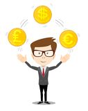 Cartoon businessman juggling with gold coins Royalty Free Stock Images