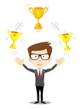 Cartoon businessman juggling with gold trophy goblet Royalty Free Stock Photo