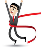 Cartoon businessman jumping. Illustration of cartoon businessman jumping with ribbon.success concept Stock Images