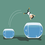 Cartoon businessman jumping out from small to a bigger fish bowl. Vector illustration Stock Image