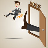Cartoon businessman kicked out of boss room Royalty Free Stock Photos