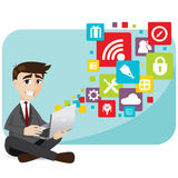 Cartoon businessman with laptop and icon Stock Photos