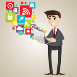 Cartoon businessman with laptop and icon stock illustration