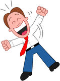 Cartoon Businessman Laughing and Jumping. Stock Image