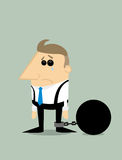 Cartoon businessman locked in a debt ball Stock Photography