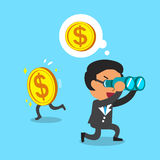 Cartoon businessman look for money in wrong direction. For design Stock Images