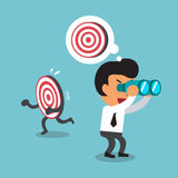 Cartoon businessman look for target in wrong direction Royalty Free Stock Images