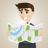 Cartoon businessman looking at map vector illustration