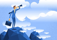 Cartoon Businessman Looking Through Telescope Standing on Top Mountain Stock Images