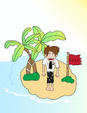 Cartoon businessman lost in the island Stock Image