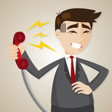 Cartoon businessman with loudness from telephone. Illustration of cartoon businessman with loudness from telephone Royalty Free Stock Image
