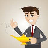 Cartoon businessman with magic lamp Royalty Free Stock Images