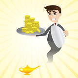 Cartoon businessman from magic lamp showing money Stock Photo