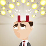 Cartoon businessman with magnetic idea bulb Royalty Free Stock Photo