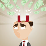 Cartoon businessman with magnetic money cash Royalty Free Stock Photography
