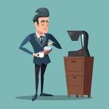 Cartoon Businessman Making Coffee. Work Break Stock Image