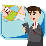 Cartoon businessman with map from smartphone Stock Photography