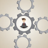 Cartoon businessman meditation in gear system Stock Images