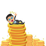 Cartoon businessman and money coins Royalty Free Stock Photography