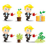 Cartoon businessman with money tree Royalty Free Stock Image