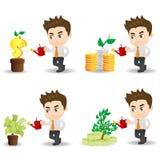Cartoon businessman with money tree Royalty Free Stock Photo