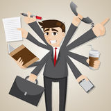 Cartoon businessman multi tasking Royalty Free Stock Photography