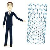 Cartoon businessman with nanotube Royalty Free Stock Photo
