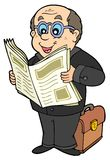 Cartoon businessman with newspaper Royalty Free Stock Photography