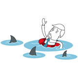 Cartoon businessman ocean sharks lifesaver. Vector illustration of a monochrome cartoon character: Scared businessman floating in the ocean surrounded by sharks Royalty Free Stock Photo