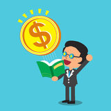 Cartoon businessman open a book that has big money coin Royalty Free Stock Photo