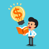 Cartoon businessman open a book that has big money idea Royalty Free Stock Photo
