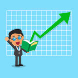 Cartoon businessman open a book that has green arrow Royalty Free Stock Images