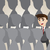 Cartoon businessman outstanding from crowd Stock Photo