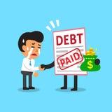 Cartoon businessman paid his debt Stock Photos